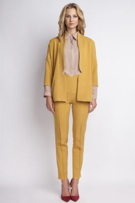 Mustard stylish jacket with 3/4 sleeves