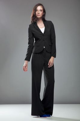 Black boot cut pants with twin button fastening