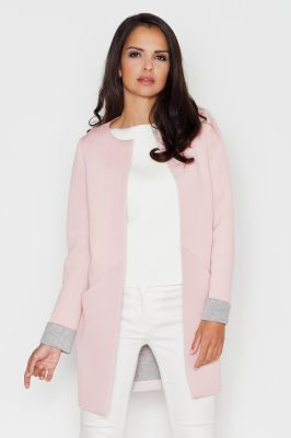 Pink Collarless Front Open Long Coat for women