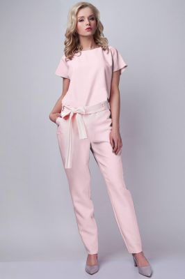 Pink Jumpsuit With Checkered Waist Belt