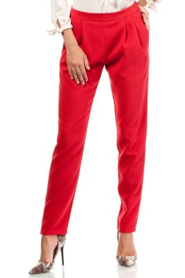 Red Satin Chino Trousers With Pockets