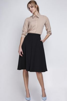 Black Pleated Midi Skirt with Back Zipper