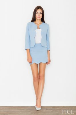 Blue skirt and jacket set with scallop trim