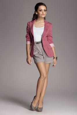 Contrast Sleeves Pink Blazer with Twin Side Flap Pockets