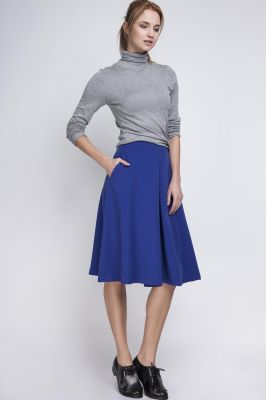 Indigo Pleated Midi Skirt with Back Zipper