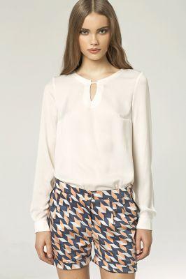 Stringed Keyhole Neckline Ecru Blouse with Long Sleeves