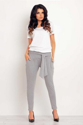 Grey stretchable pants with self tie belt