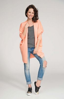Apricot front open sweater with batwing sleeves