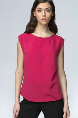 Fuchsia High Neck Sleeveless Blouse with Curved Hemline