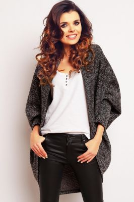 Dark grey oversized knit sweater with batwing sleeves
