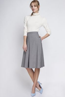 Houndstooth Check Pleated Midi Skirt with Back Zipper