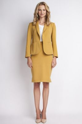 Mustard jacket with shawl collars