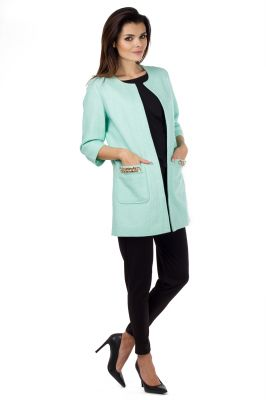 Mint Coat With Chain Embellished Pockets