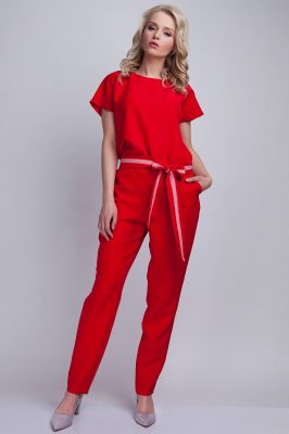 Red Jumpsuit With Checkered Waist Belt