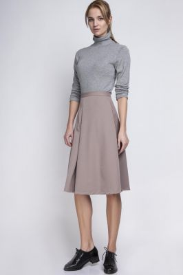 Beige Pleated Midi Skirt with Back Zipper