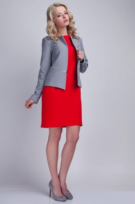 Modern Grey Collarless Open Blazer