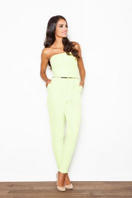 Green Bandeau Jumpsuit with Silver Waist Belt