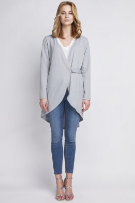 Grey crossover long cardigan with buckle fastening