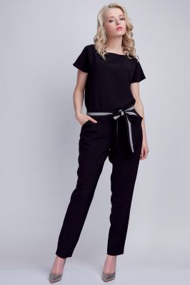 Black Jumpsuit With Checkered Waist Belt