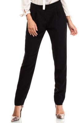 Black Satin Chino Trousers With Pockets
