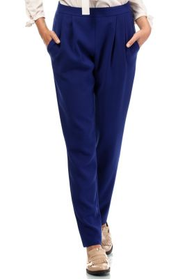 Blue Satin Chino Trousers With Pockets
