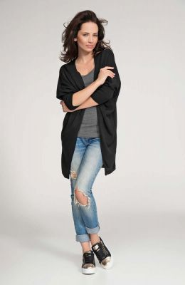 Black front open sweater with batwing sleeves