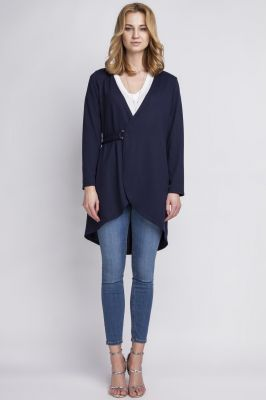 Dark blue crossover long cardigan with buckle fastening