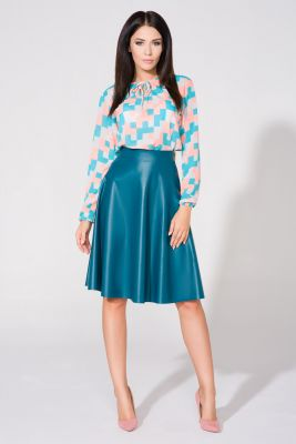 Electric blue flared skirt with gold zipper
