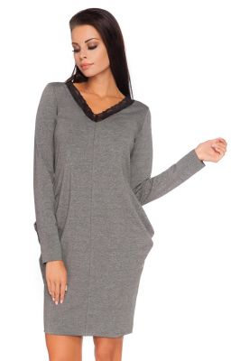 Grey Seam Dress with Lace Neckline