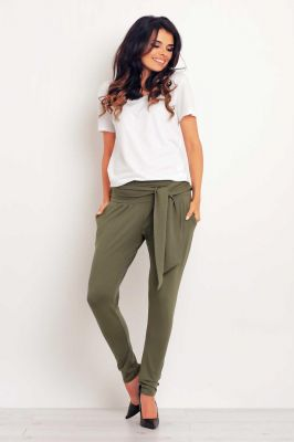 Olive green stretchable pants with self tie belt