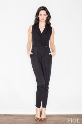 Black Pleated Drape Jumpsuit with Collars