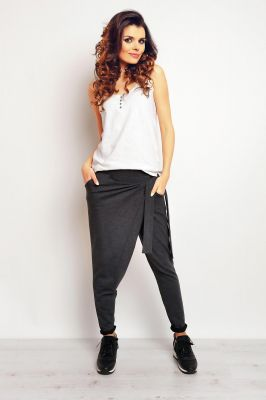 Dark grey baggy pants with self tie belt