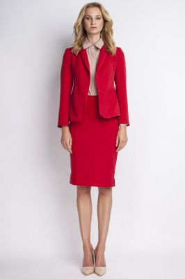 Red jacket with shawl collars