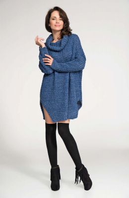 Dark blue long sweater with slits
