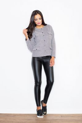 Flecked Grey Cropped Jacket with Twin Chest and Side Pockets