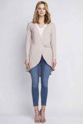 Beige crossover long cardigan with buckle fastening
