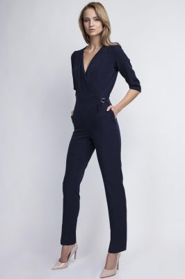 Crisscross V-neck Navy Blue Jumpsuit