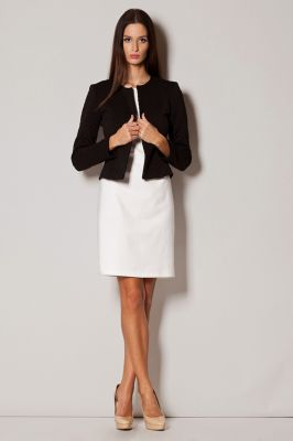 Black Diamond Stitched Collarless Cropped Blazer