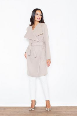 Oversized Double Breasted Beige Coat with Self Tie Belt